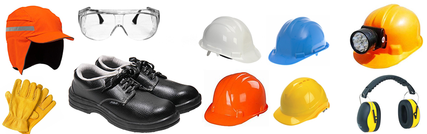 Safety Caps, Shoes, Gloves and Helmets - front garments
